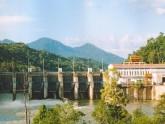 Toàn cảnh Công trình thuỷ điện Sê san 3A nhìn từ hạ lưu